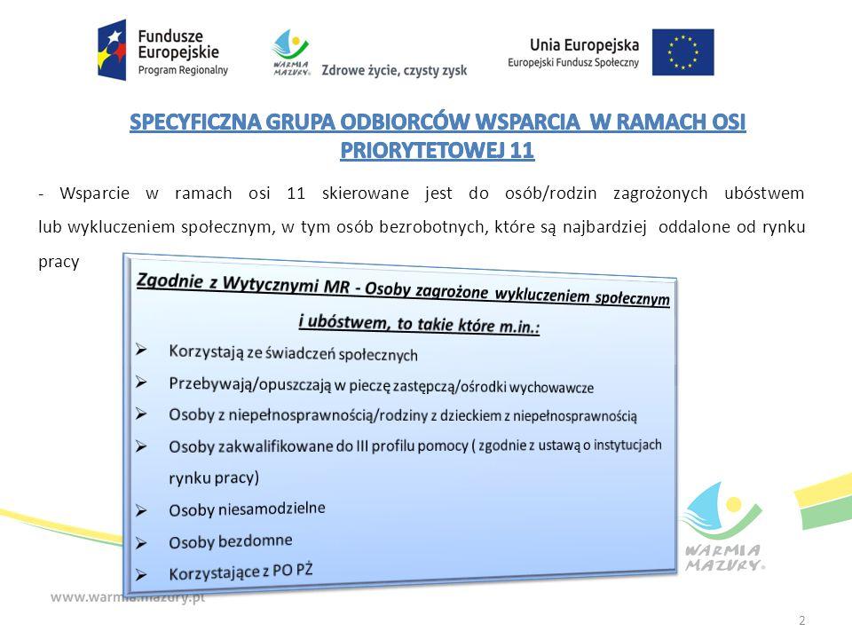 - Wsparcie w ramach osi 11 skierowane jest do osób/rodzin zagrożonych ubóstwem lub wykluczeniem społecznym, w tym osób bezrobotnych, które są najbardziej oddalone od rynku pracy 2