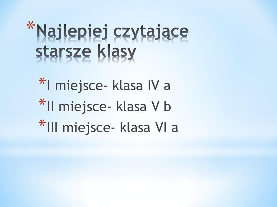 * I miejsce- klasa IV a * II miejsce- klasa V b * III miejsce- klasa VI a