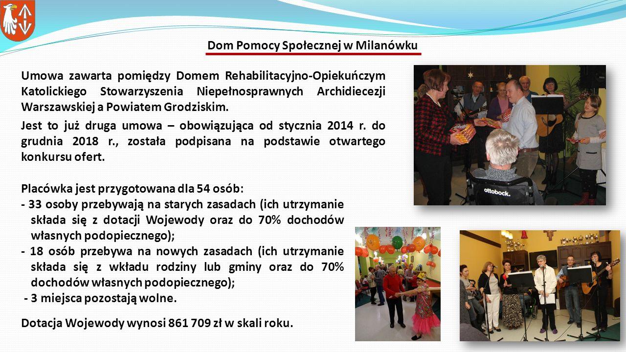 Umowa zawarta pomiędzy Domem Rehabilitacyjno-Opiekuńczym Katolickiego Stowarzyszenia Niepełnosprawnych Archidiecezji Warszawskiej a Powiatem Grodziskim.