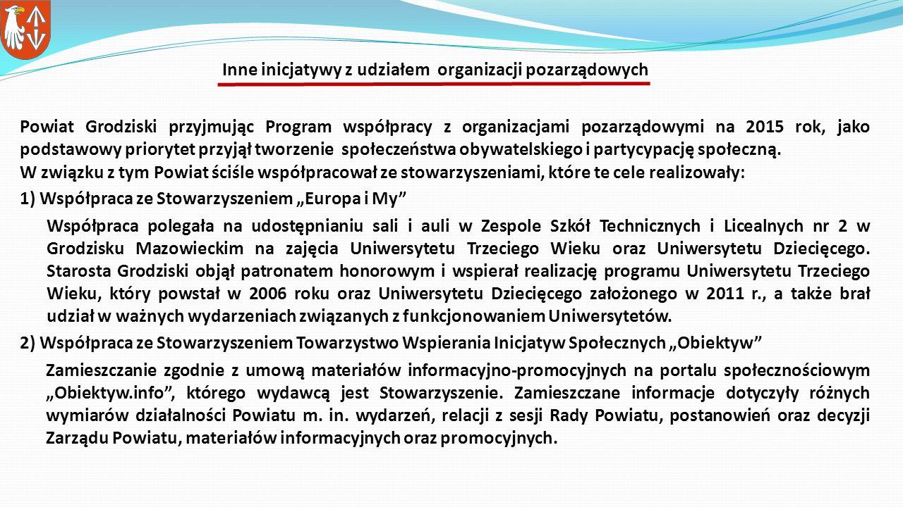 Powiat Grodziski przyjmując Program współpracy z organizacjami pozarządowymi na 2015 rok, jako podstawowy priorytet przyjął tworzenie społeczeństwa obywatelskiego i partycypację społeczną.
