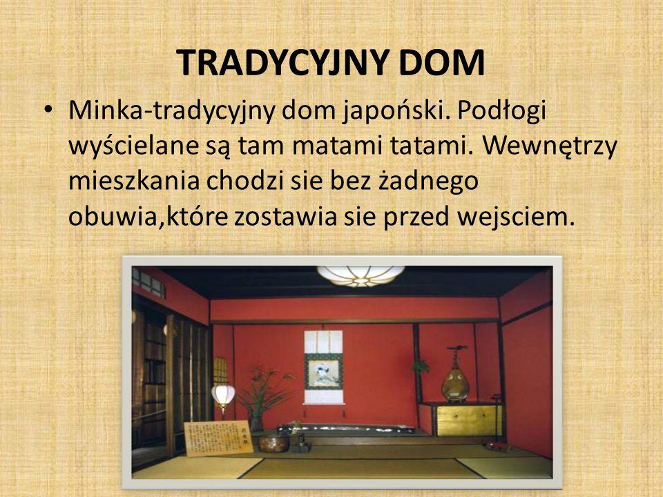 TRADYCYJNY DOM Minka-tradycyjny dom japoński. Podłogi wyścielane są tam matami tatami. Wewnętrzy mieszkania chodzi sie bez żadnego obuwia,które zostaw