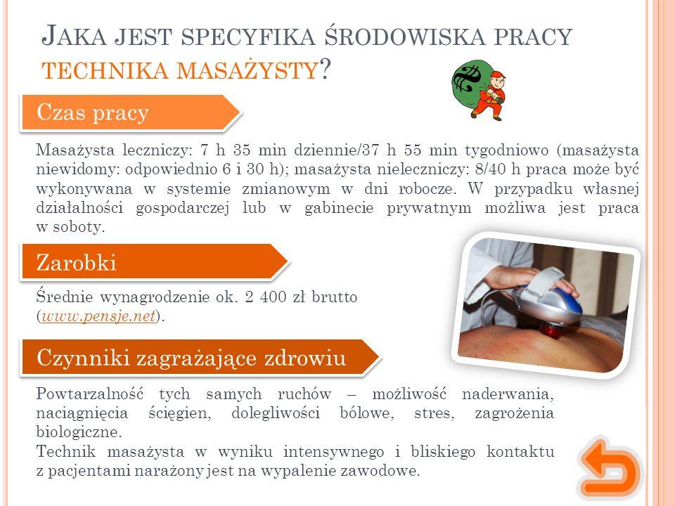 Czas pracy Masażysta leczniczy: 7 h 35 min dziennie/37 h 55 min tygodniowo (masażysta niewidomy: odpowiednio 6 i 30 h); masażysta nieleczniczy: 8/40 h