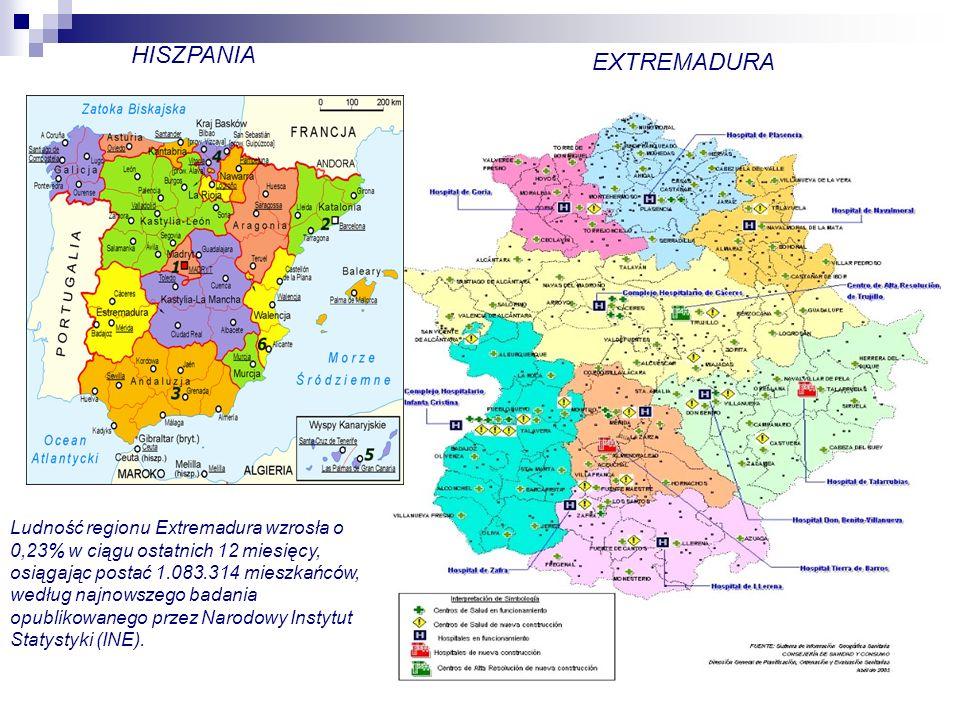HISZPANIA EXTREMADURA Ludność regionu Extremadura wzrosła o 0,23% w ciągu ostatnich 12 miesięcy, osiągając postać 1.083.314 mieszkańców, według najnowszego badania opublikowanego przez Narodowy Instytut Statystyki (INE).