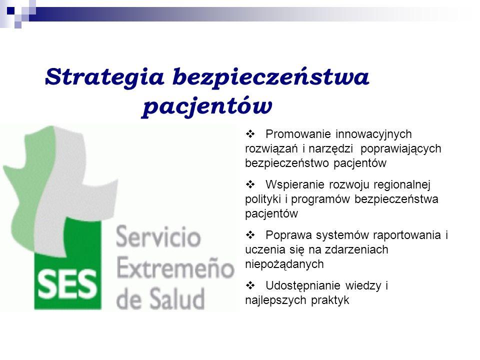 Strategia bezpieczeństwa pacjentów  Promowanie innowacyjnych rozwiązań i narzędzi poprawiających bezpieczeństwo pacjentów  Wspieranie rozwoju regionalnej polityki i programów bezpieczeństwa pacjentów  Poprawa systemów raportowania i uczenia się na zdarzeniach niepożądanych  Udostępnianie wiedzy i najlepszych praktyk