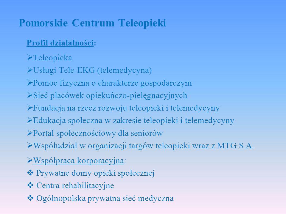 Profil działalności:  Teleopieka  Usługi Tele-EKG (telemedycyna)  Pomoc fizyczna o charakterze gospodarczym  Sieć placówek opiekuńczo-pielęgnacyjnych  Fundacja na rzecz rozwoju teleopieki i telemedycyny  Edukacja społeczna w zakresie teleopieki i telemedycyny  Portal społecznościowy dla seniorów  Współudział w organizacji targów teleopieki wraz z MTG S.A.