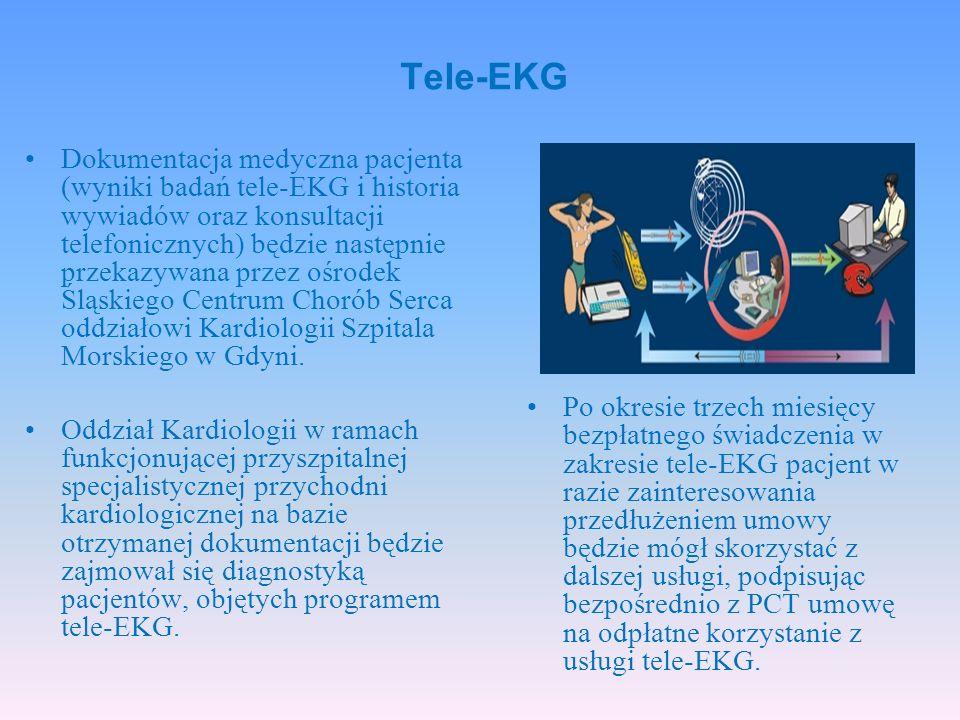 Dokumentacja medyczna pacjenta (wyniki badań tele-EKG i historia wywiadów oraz konsultacji telefonicznych) będzie następnie przekazywana przez ośrodek Śląskiego Centrum Chorób Serca oddziałowi Kardiologii Szpitala Morskiego w Gdyni.