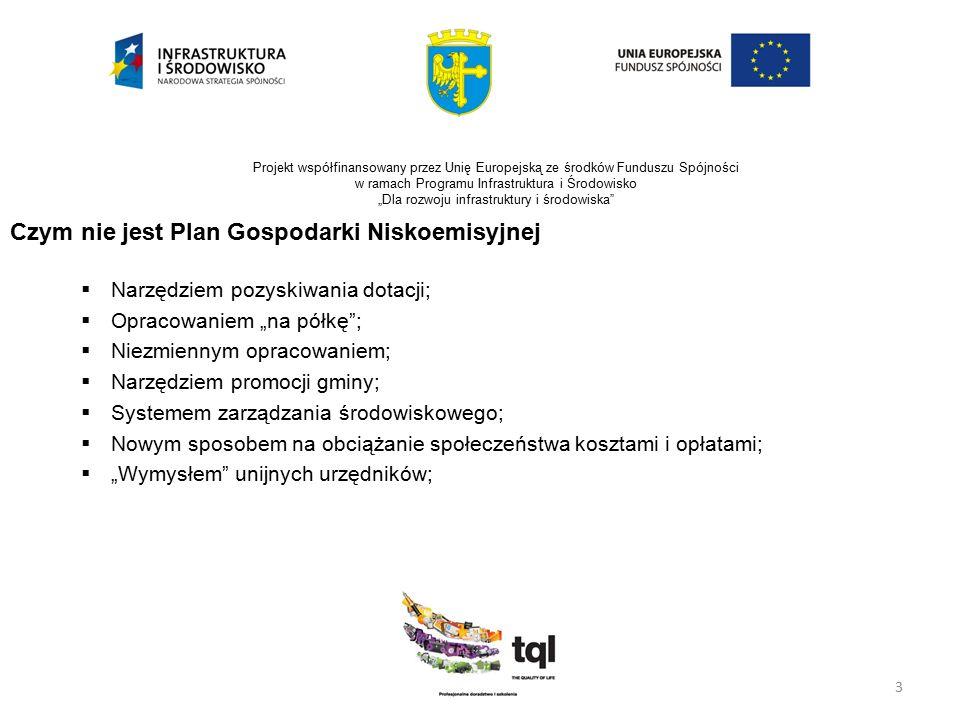 """4 Projekt współfinansowany przez Unię Europejską ze środków Funduszu Spójności w ramach Programu Infrastruktura i Środowisko """"Dla rozwoju infrastruktury i środowiska Co to zatem jest Plan Gospodarki Niskoemisyjnej."""