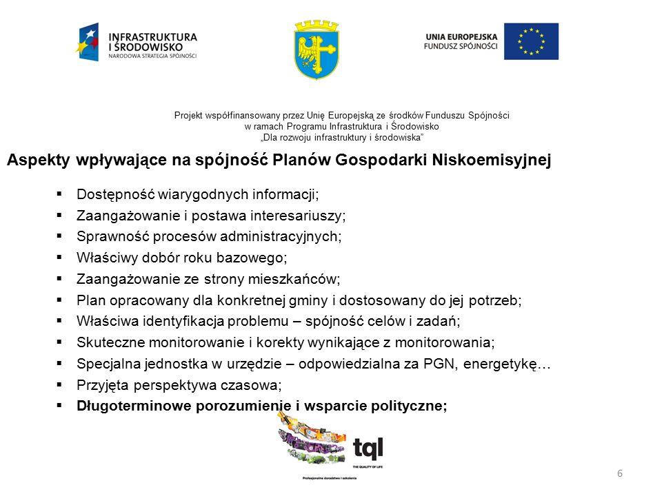 """7 Projekt współfinansowany przez Unię Europejską ze środków Funduszu Spójności w ramach Programu Infrastruktura i Środowisko """"Dla rozwoju infrastruktury i środowiska Realizacja i monitorowanie  PGN jest dokumentem przekrojowym i obejmuje wiele dziedzin funkcjonowania miasta, dlatego jest konieczna jego skuteczna koordynacja i monitoring realizacji;  W tym celu może być zasadne powołanie Koordynatora Planu gospodarki niskoemisyjnej – osoby odpowiedzialnej za zarządzanie energią;  Zaprezentowane podejście ułatwia prawidłowe wdrażanie PGN i jego monitoring,  Konieczna jest ścisła współpraca z interesariuszami zewnętrznymi na zasadzie utworzenia komórki doradczej – otoczenie jest żywe i dynamiczne;"""