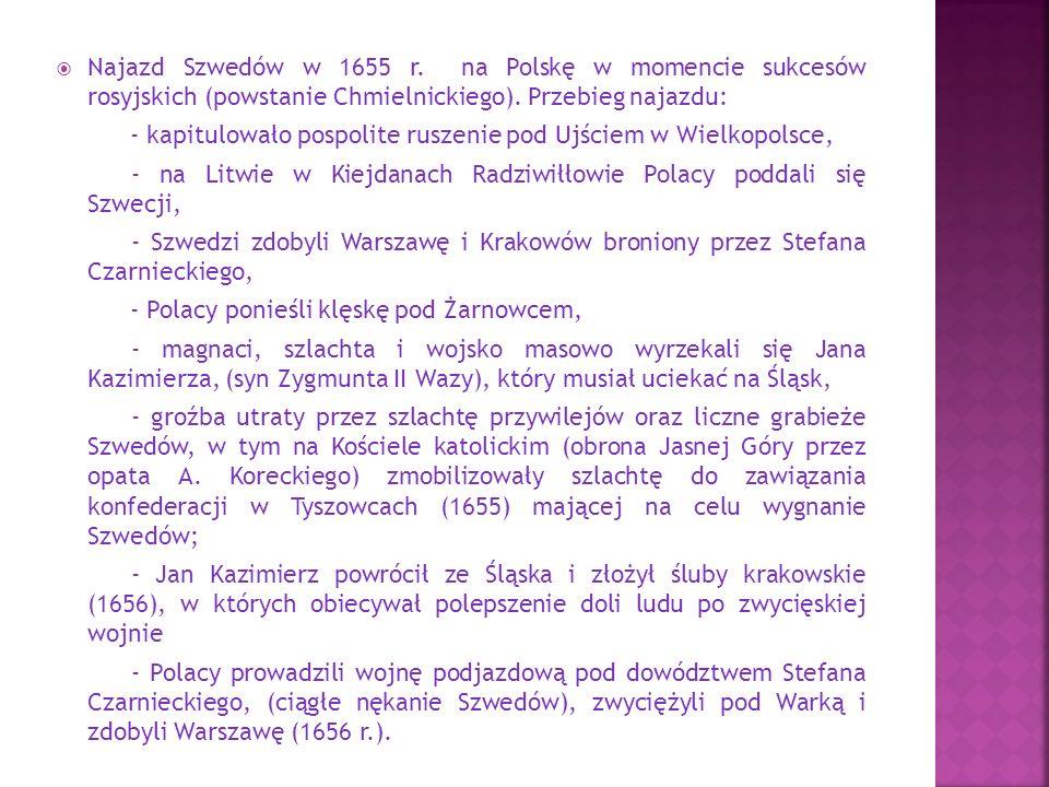  Najazd Szwedów w 1655 r. na Polskę w momencie sukcesów rosyjskich (powstanie Chmielnickiego).