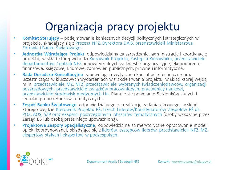 Departament Analiz i Strategii NFZKontakt: koordynowana@nfz.gov.plkoordynowana@nfz.gov.pl Organizacja pracy projektu Komitet Sterujący – podejmowanie koniecznych decyzji politycznych i strategicznych w projekcie, składający się z Prezesa NFZ, Dyrektora DAiS, przedstawicieli Ministerstwa Zdrowia i Banku Światowego.