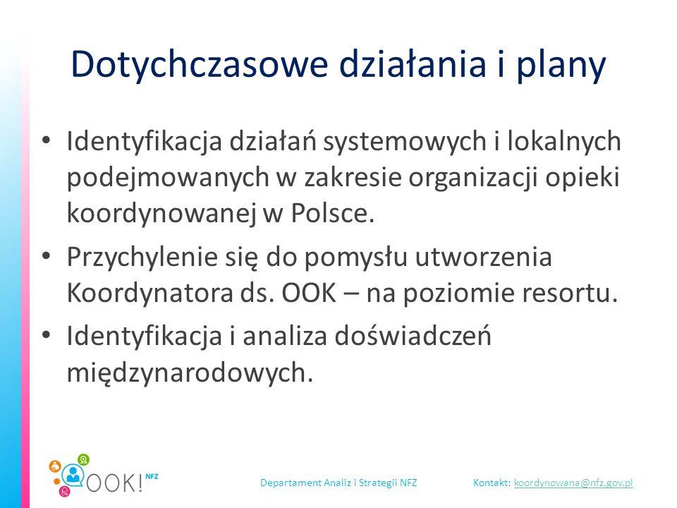 Departament Analiz i Strategii NFZKontakt: koordynowana@nfz.gov.plkoordynowana@nfz.gov.pl Dotychczasowe działania i plany Identyfikacja działań systemowych i lokalnych podejmowanych w zakresie organizacji opieki koordynowanej w Polsce.
