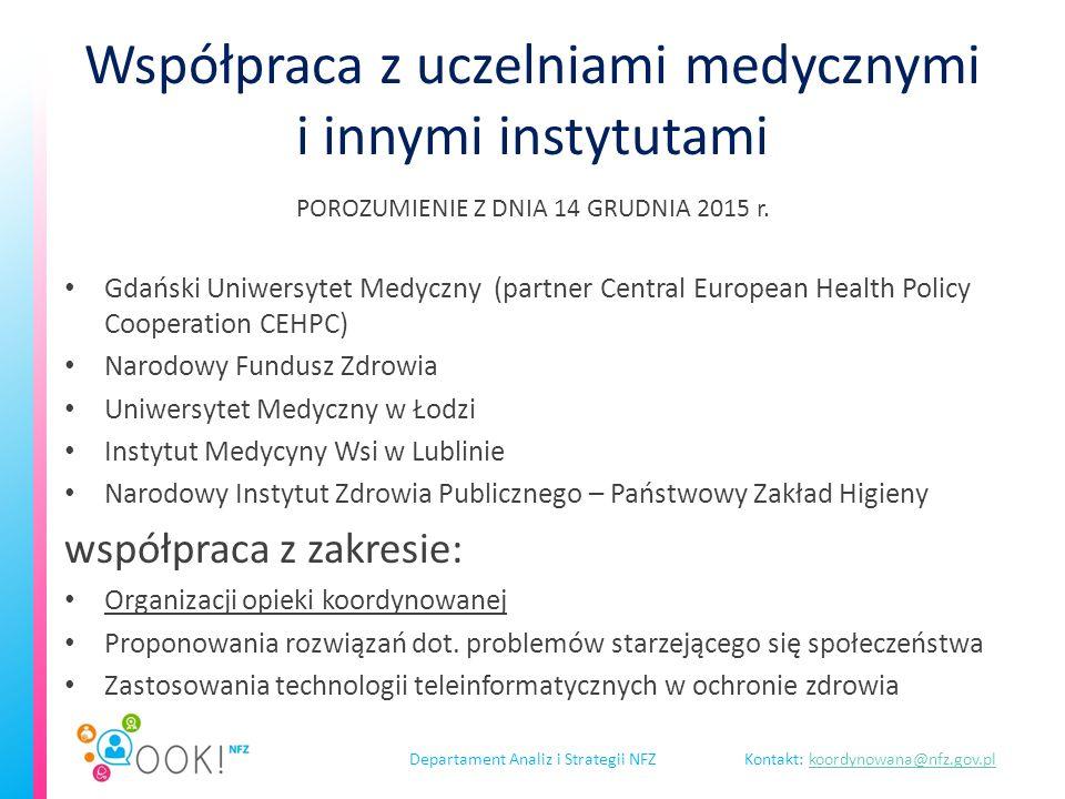 Departament Analiz i Strategii NFZKontakt: koordynowana@nfz.gov.plkoordynowana@nfz.gov.pl Współpraca z uczelniami medycznymi i innymi instytutami POROZUMIENIE Z DNIA 14 GRUDNIA 2015 r.
