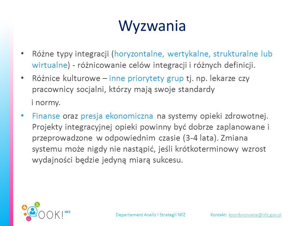 Departament Analiz i Strategii NFZKontakt: koordynowana@nfz.gov.plkoordynowana@nfz.gov.pl Wyzwania Różne typy integracji (horyzontalne, wertykalne, strukturalne lub wirtualne) - różnicowanie celów integracji i różnych definicji.