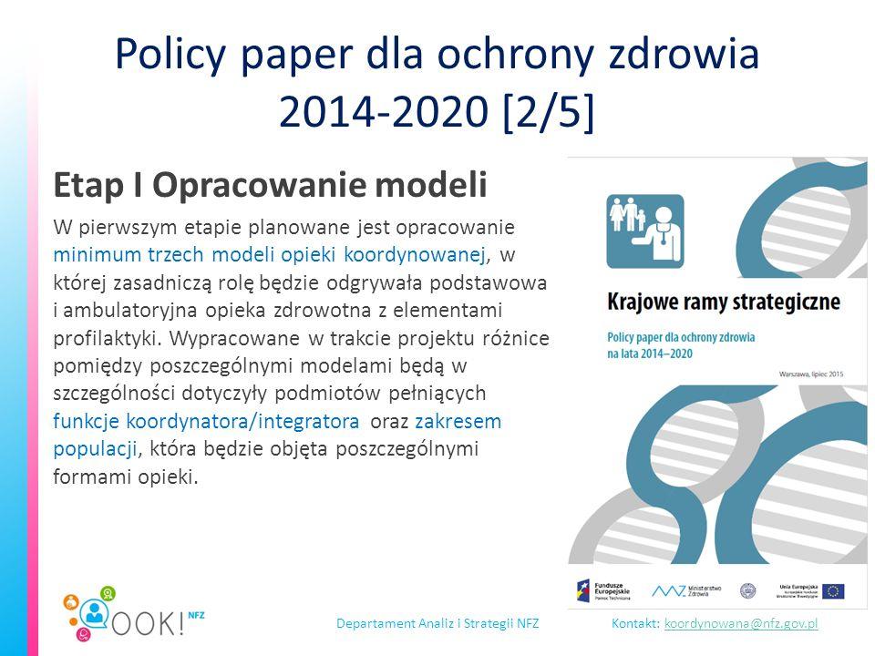 Departament Analiz i Strategii NFZKontakt: koordynowana@nfz.gov.plkoordynowana@nfz.gov.pl Policy paper dla ochrony zdrowia 2014-2020 [3/5] Etap II Faza testowa modeli Faza testowa (pilotażowa) mająca na celu opracowanie, w oparciu o przygotowane modele OOK, optymalnego sposobu kontraktowania i finansowania świadczeń opieki zdrowotnej przez NFZ.