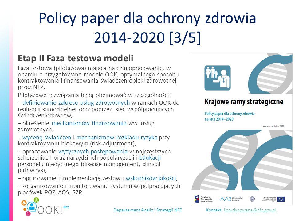 Departament Analiz i Strategii NFZKontakt: koordynowana@nfz.gov.plkoordynowana@nfz.gov.pl Wyzwania Płatności na podstawie wyników leczenia lub na dobru całej populacji a nie tradycyjnych modelach fee-for-service.