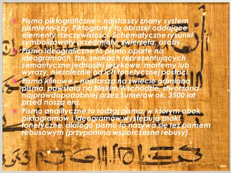  Pismo piktograficzne – najstarszy znany system piśmienniczy. Piktogramy to obrazki oddające elementy rzeczywistości. Schematyczne rysunki symbolizow