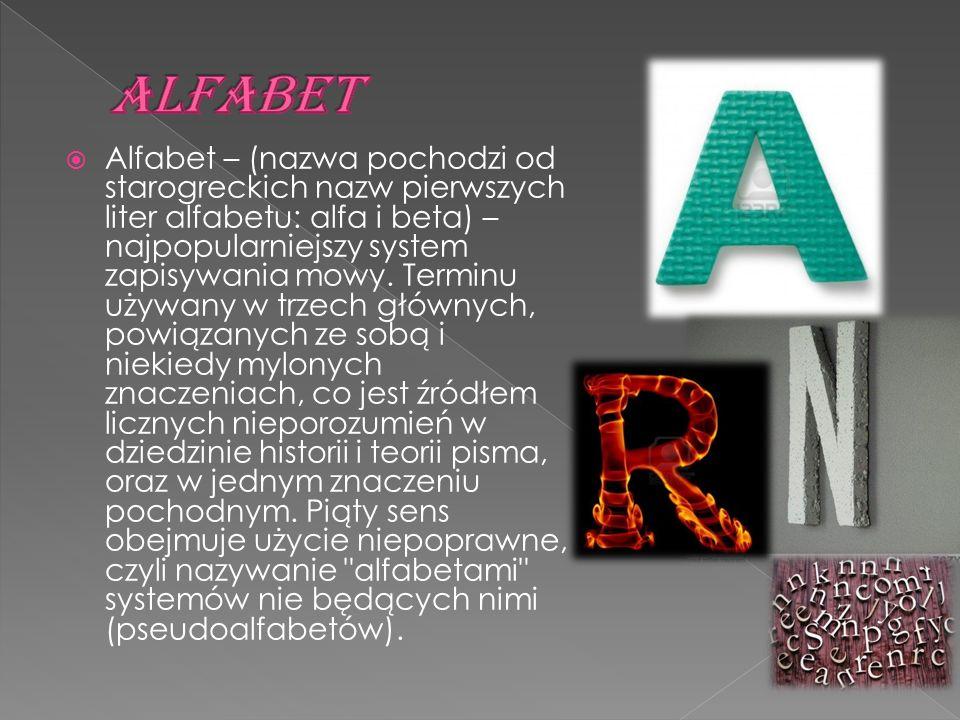  Alfabet – (nazwa pochodzi od starogreckich nazw pierwszych liter alfabetu: alfa i beta) – najpopularniejszy system zapisywania mowy. Terminu używany
