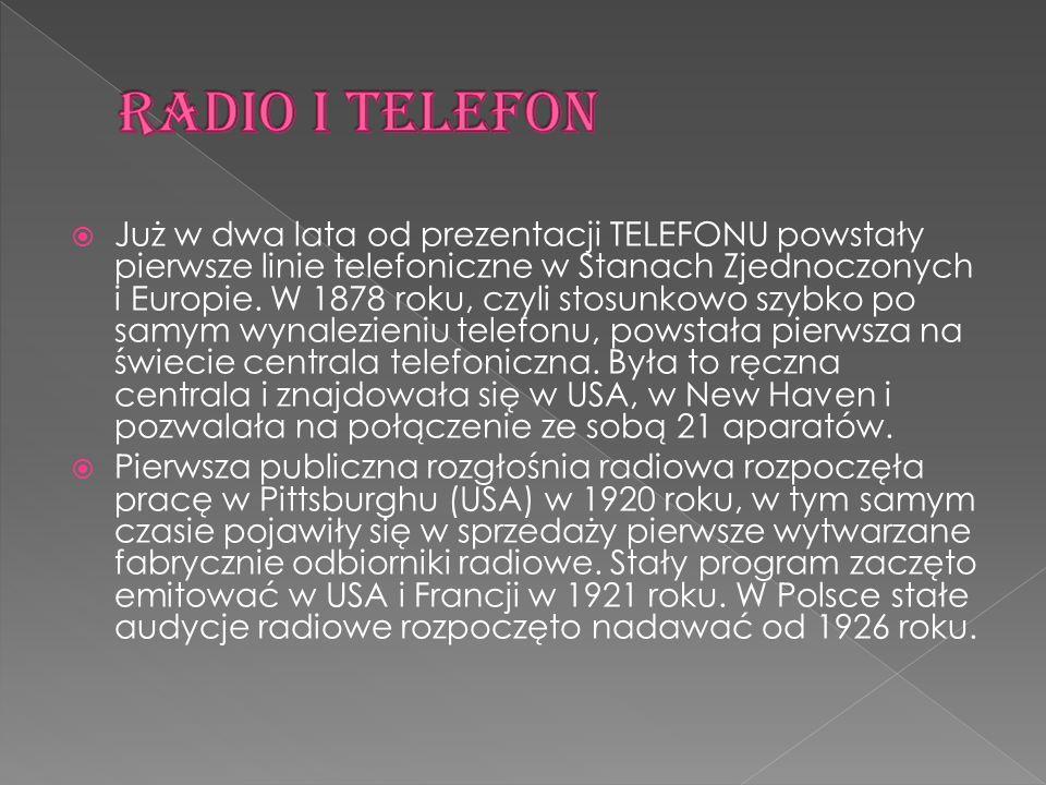  Już w dwa lata od prezentacji TELEFONU powstały pierwsze linie telefoniczne w Stanach Zjednoczonych i Europie. W 1878 roku, czyli stosunkowo szybko