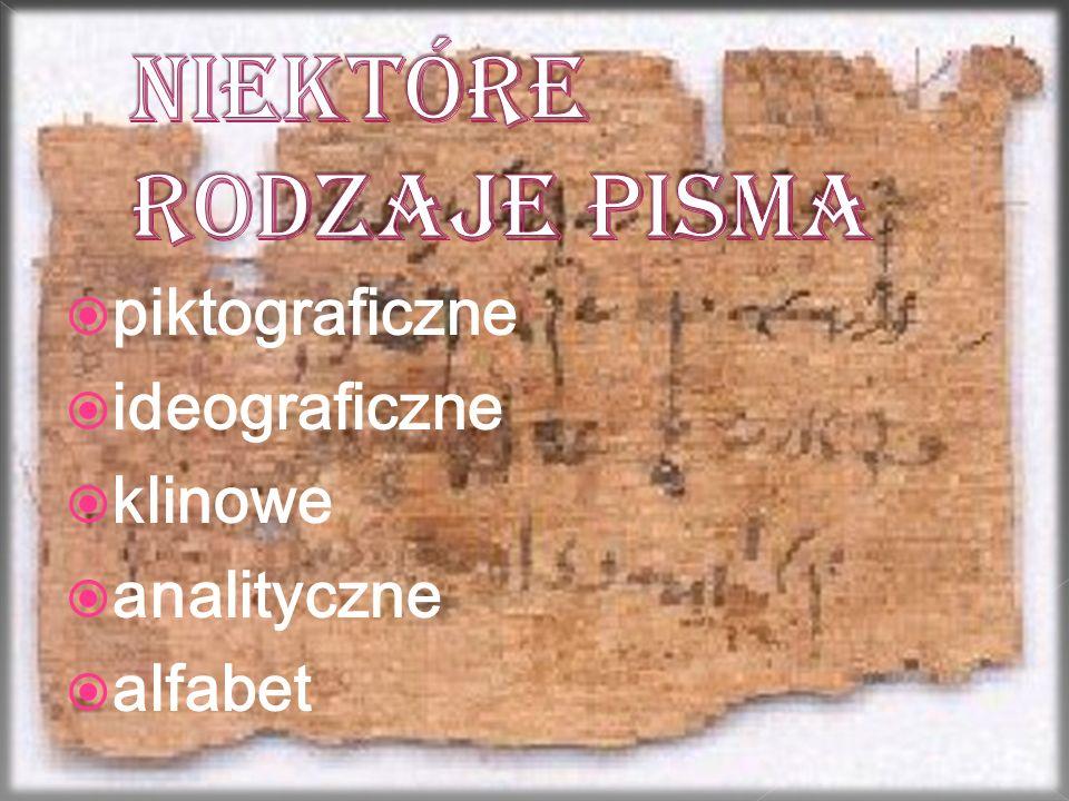  piktograficzne  ideograficzne  klinowe  analityczne  alfabet