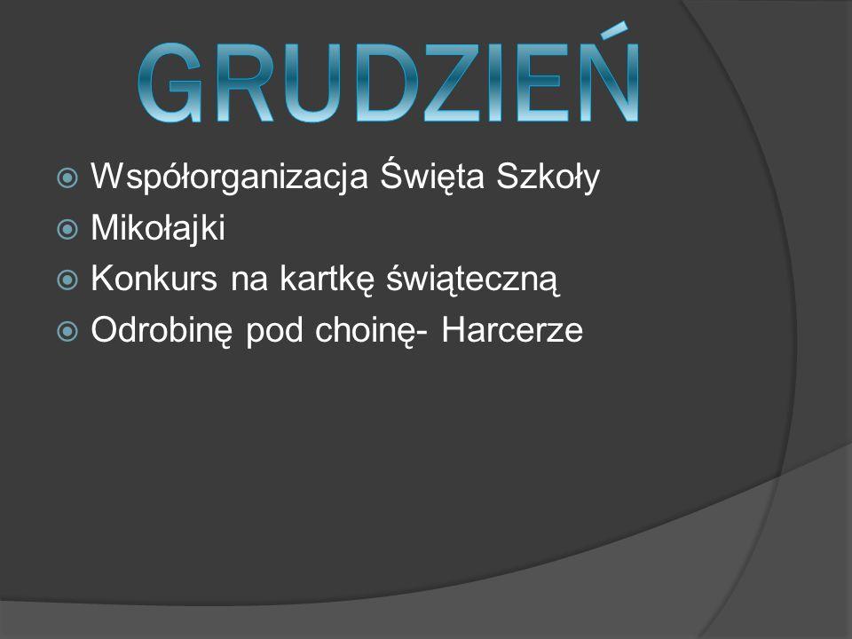  Współorganizacja Święta Szkoły  Mikołajki  Konkurs na kartkę świąteczną  Odrobinę pod choinę- Harcerze