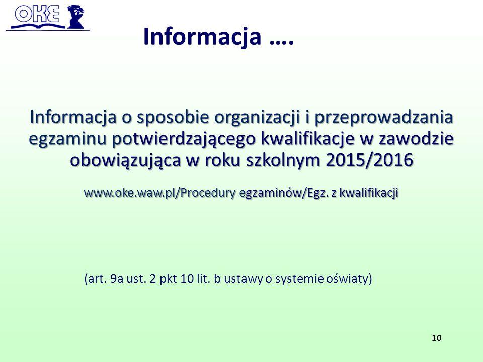 (art. 9a ust. 2 pkt 10 lit. b ustawy o systemie oświaty) Informacja o sposobie organizacji i przeprowadzania egzaminu potwierdzającego kwalifikacje w