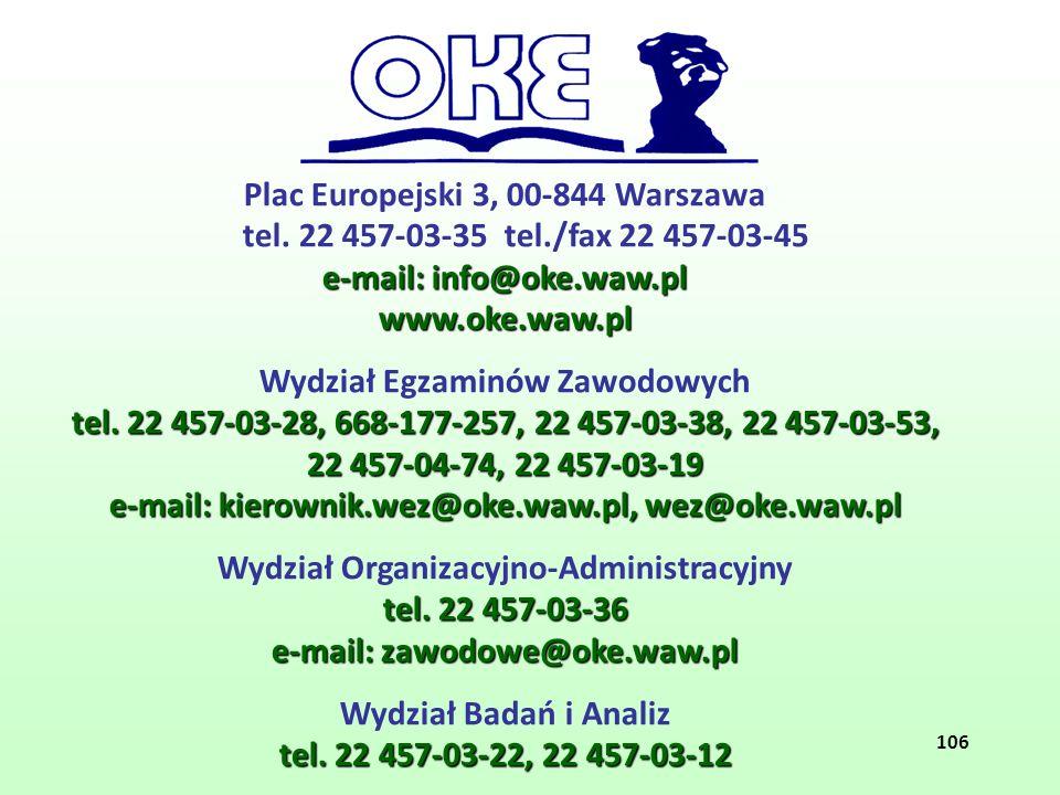 Plac Europejski 3, 00-844 Warszawa tel. 22 457-03-35 tel./fax 22 457-03-45 e-mail: info@oke.waw.pl www.oke.waw.pl Wydział Egzaminów Zawodowych tel. 22