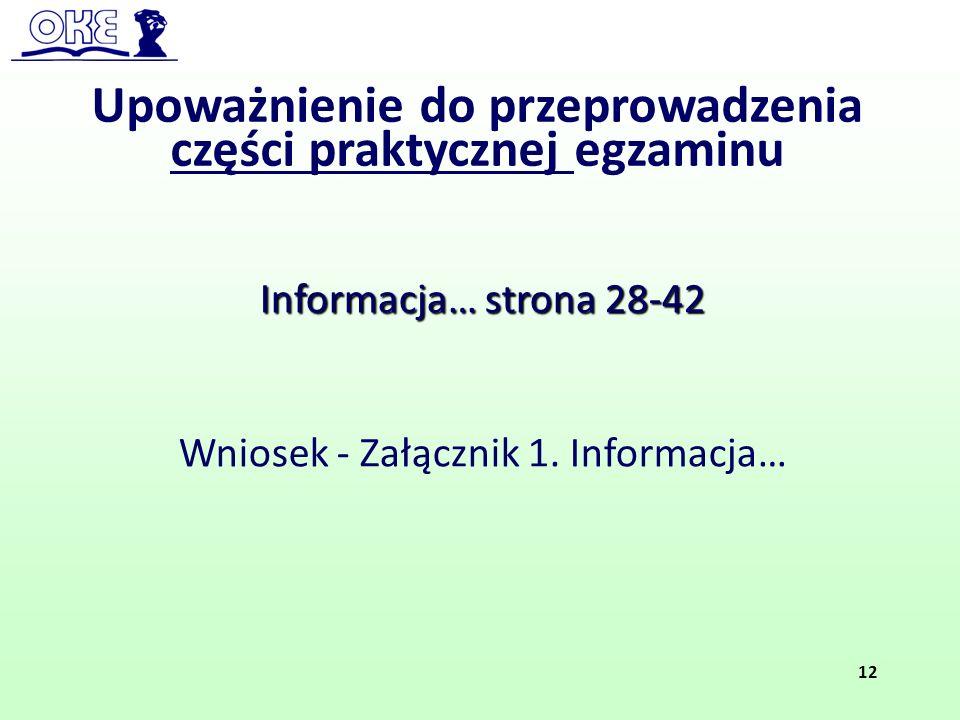 Upoważnienie do przeprowadzenia części praktycznej egzaminu Informacja… strona 28-42 Wniosek - Załącznik 1. Informacja… 12