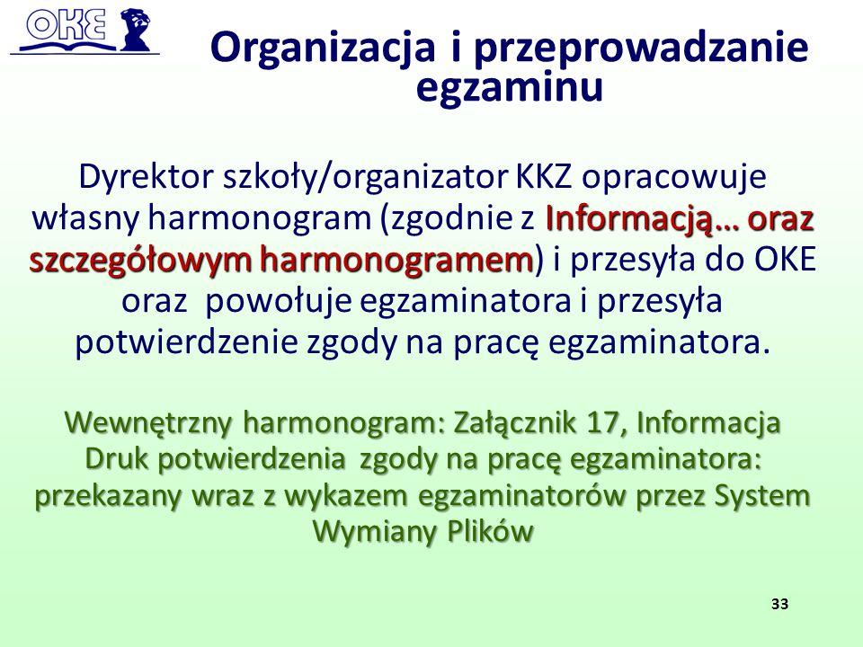 Informacją… oraz szczegółowym harmonogramem Dyrektor szkoły/organizator KKZ opracowuje własny harmonogram (zgodnie z Informacją… oraz szczegółowym har