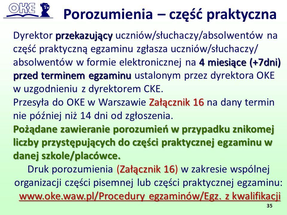 Porozumienia – część praktyczna przekazujący 4 miesiące (+7dni) przed terminem egzaminu Dyrektor przekazujący uczniów/słuchaczy/absolwentów na część p