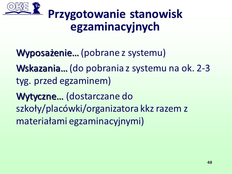 Wyposażenie… Wyposażenie… (pobrane z systemu) Wskazania… Wskazania… (do pobrania z systemu na ok. 2-3 tyg. przed egzaminem) Wytyczne… Wytyczne… (dosta