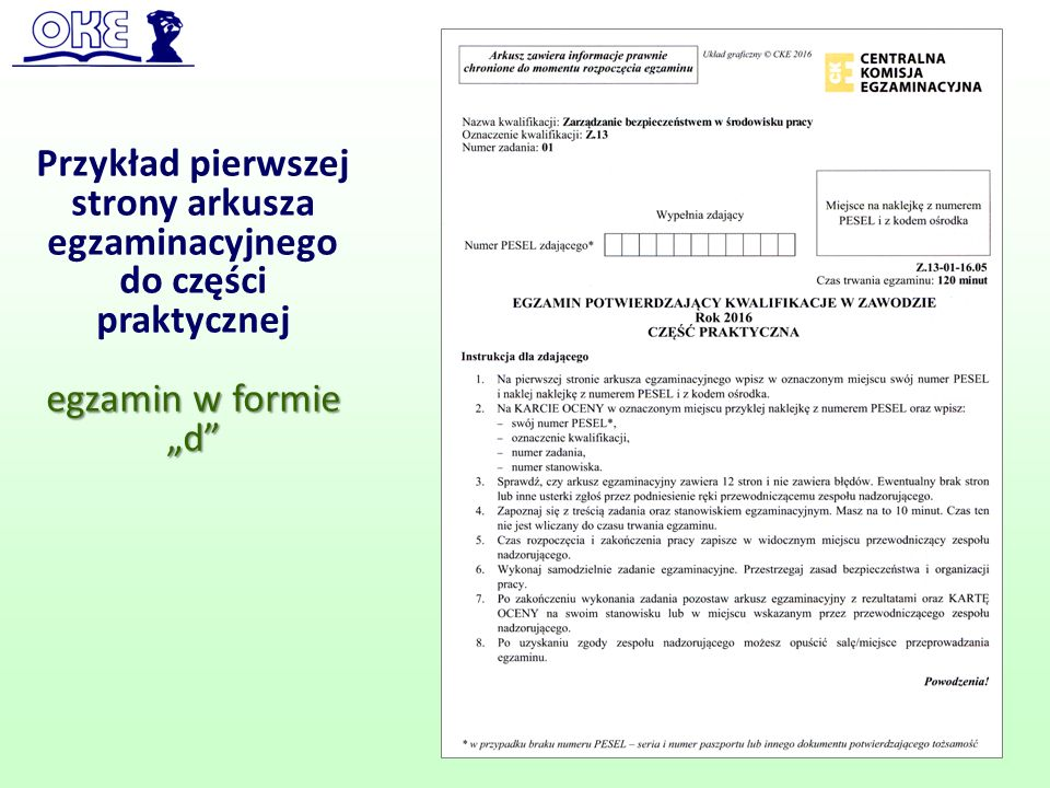 """Przykład pierwszej strony arkusza egzaminacyjnego do części praktycznej egzamin w formie """"d"""" 56"""