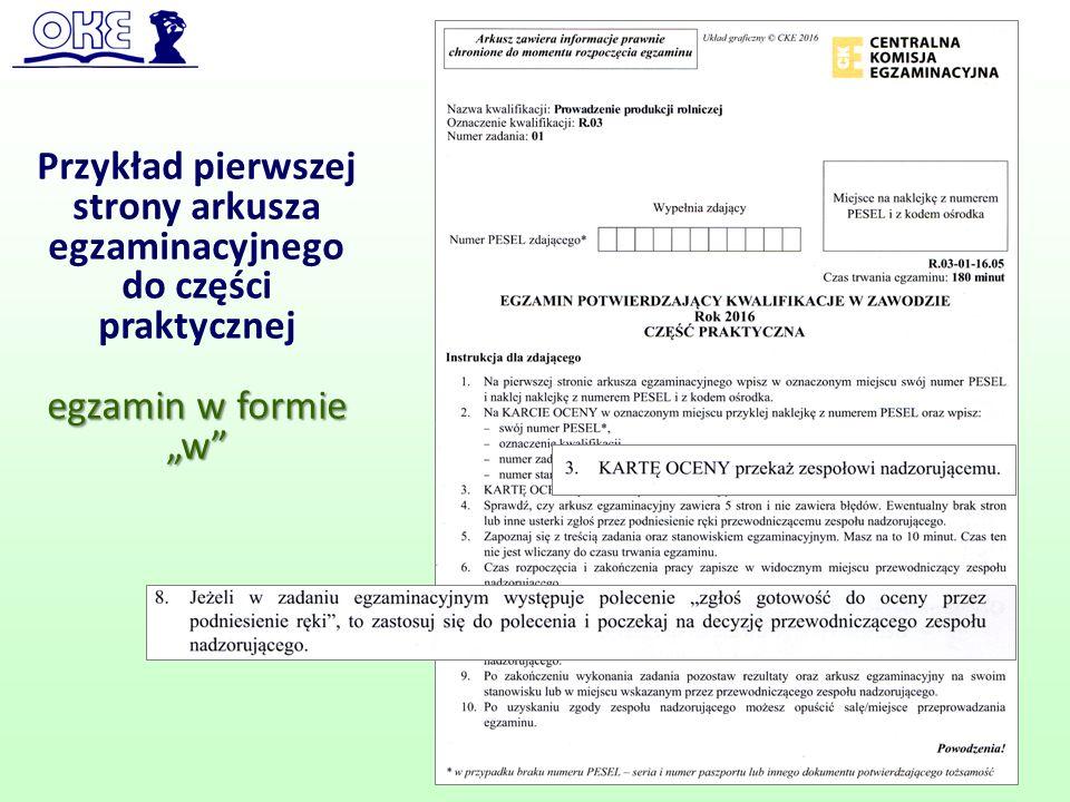 """Przykład pierwszej strony arkusza egzaminacyjnego do części praktycznej egzamin w formie """"w"""" 57"""