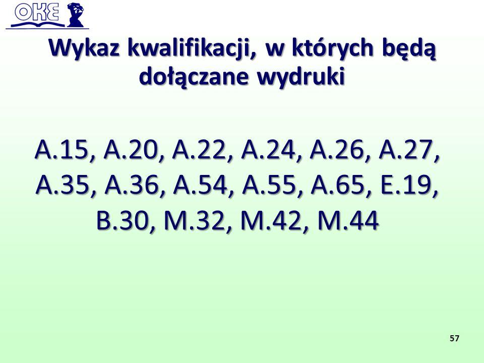 Wykaz kwalifikacji, w których będą dołączane wydruki A.15, A.20, A.22, A.24, A.26, A.27, A.35, A.36, A.54, A.55, A.65, E.19, B.30, M.32, M.42, M.44 57