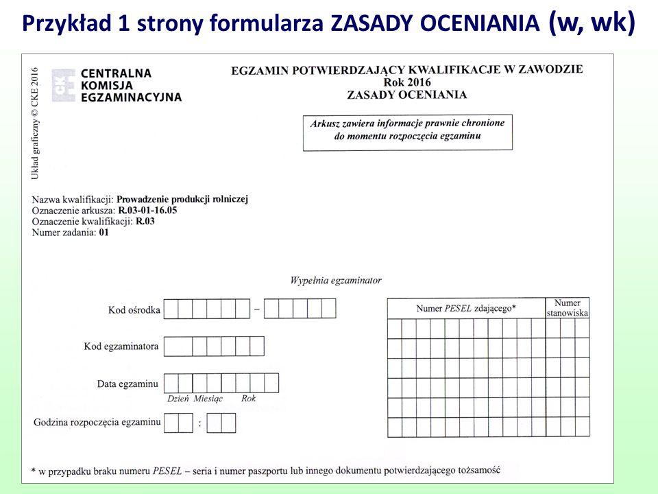 Przykład 1 strony formularza ZASADY OCENIANIA (w, wk) 62