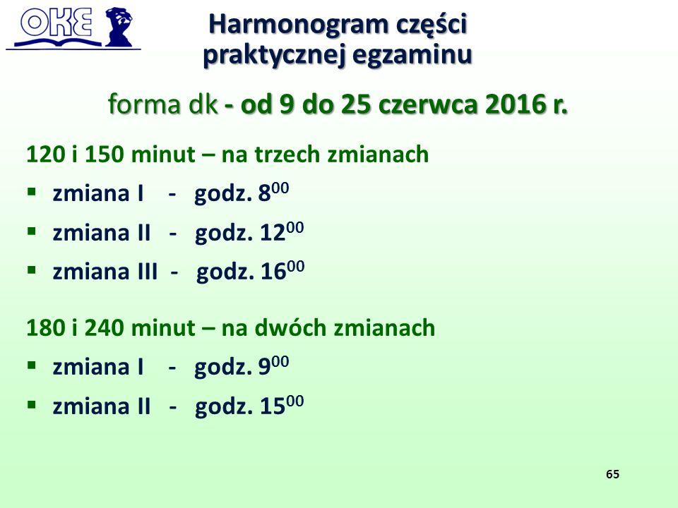 120 i 150 minut – na trzech zmianach  zmiana I - godz. 8 00  zmiana II - godz. 12 00  zmiana III - godz. 16 00 180 i 240 minut – na dwóch zmianach