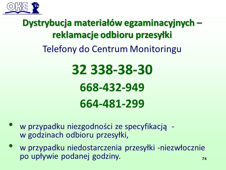 Dystrybucja materiałów egzaminacyjnych – reklamacje odbioru przesyłki Telefony do Centrum Monitoringu 32 338-38-30 668-432-949 664-481-299 w przypadku