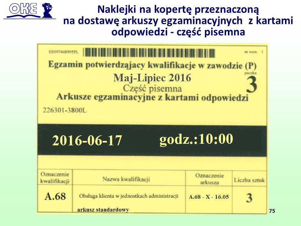 Naklejki na kopertę przeznaczoną na dostawę arkuszy egzaminacyjnych z kartami odpowiedzi - część pisemna 75