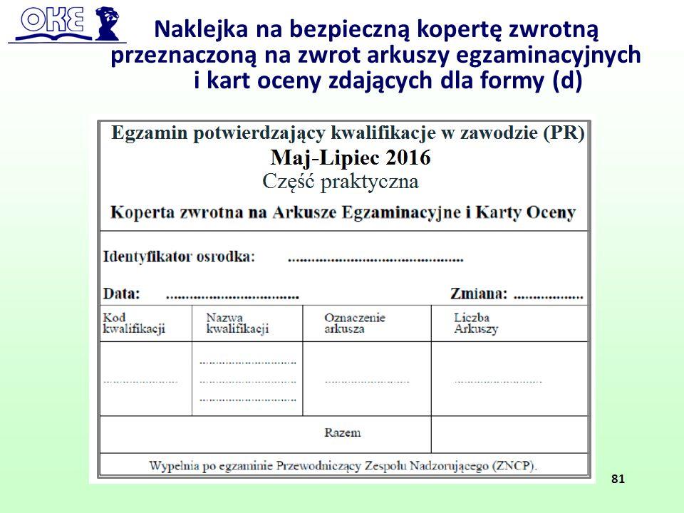 Naklejka na bezpieczną kopertę zwrotną przeznaczoną na zwrot arkuszy egzaminacyjnych i kart oceny zdających dla formy (d) 81