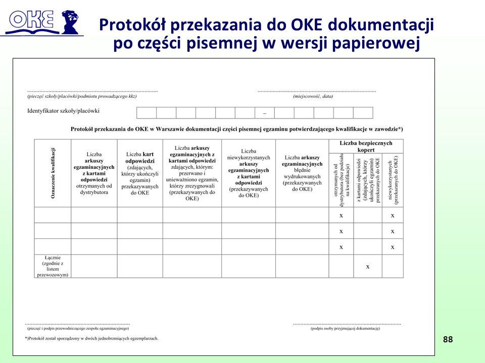 Protokół przekazania do OKE dokumentacji po części pisemnej w wersji papierowej 88