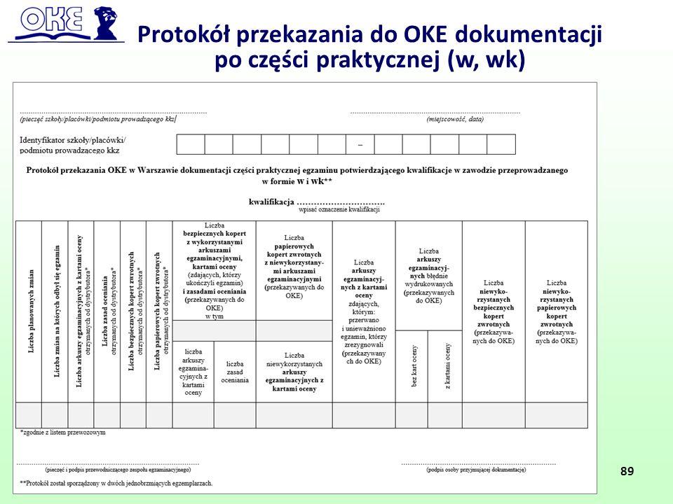 Protokół przekazania do OKE dokumentacji po części praktycznej (w, wk) 89