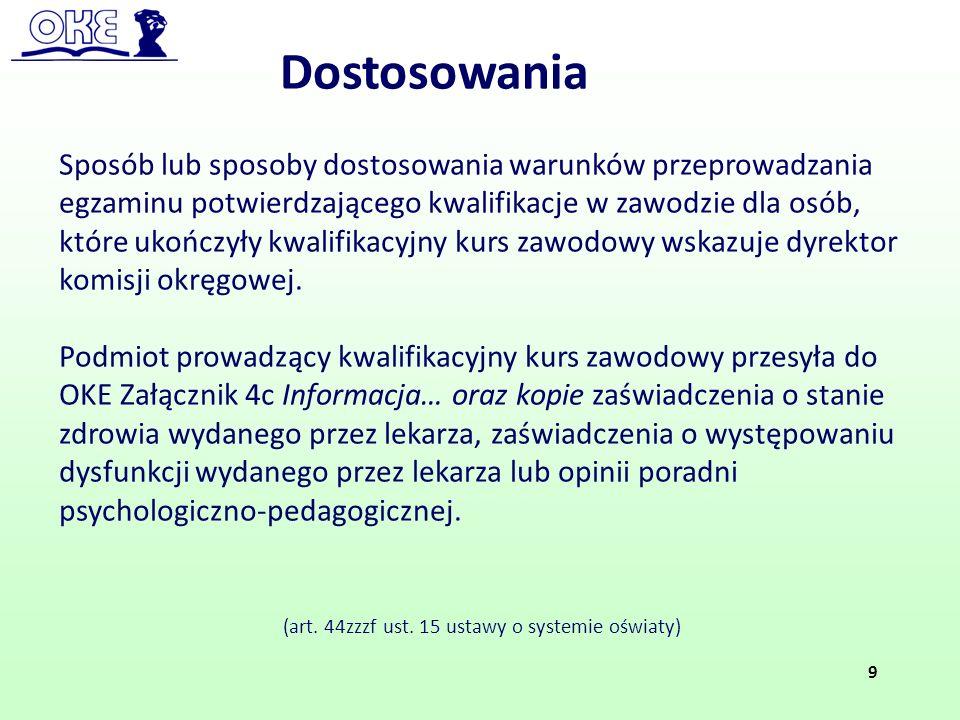 (art. 44zzzf ust. 15 ustawy o systemie oświaty) Dostosowania 9 Sposób lub sposoby dostosowania warunków przeprowadzania egzaminu potwierdzającego kwal