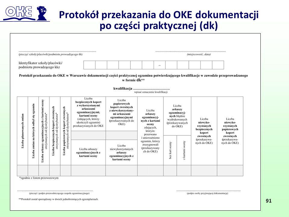 Protokół przekazania do OKE dokumentacji po części praktycznej (dk) 91