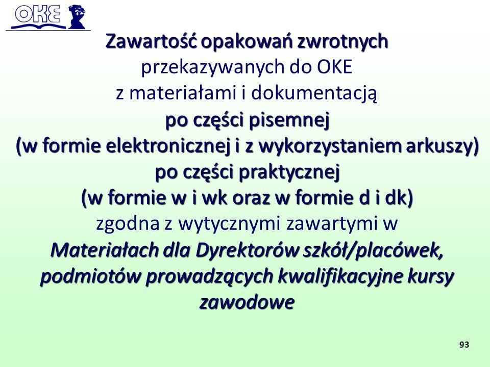 Zawartość opakowań zwrotnych przekazywanych do OKE z materiałami i dokumentacją po części pisemnej (w formie elektronicznej i z wykorzystaniem arkuszy