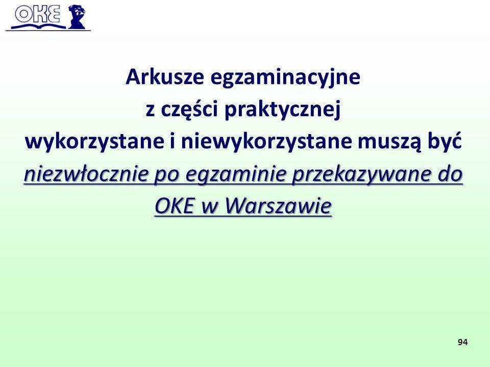 Arkusze egzaminacyjne z części praktycznej niezwłocznie po egzaminie przekazywane do OKE w Warszawie wykorzystane i niewykorzystane muszą być niezwłoc
