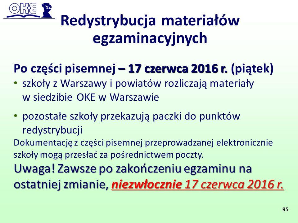 Redystrybucja materiałów egzaminacyjnych – 17 czerwca 2016 r. Po części pisemnej – 17 czerwca 2016 r. (piątek) szkoły z Warszawy i powiatów rozliczają