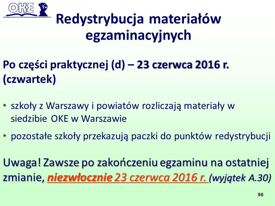 23 czerwca 2016 r. Po części praktycznej (d) – 23 czerwca 2016 r. (czwartek) szkoły z Warszawy i powiatów rozliczają materiały w siedzibie OKE w Warsz