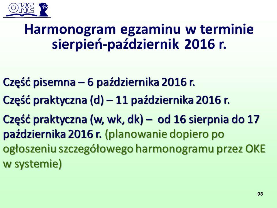 Harmonogram egzaminu w terminie sierpień-październik 2016 r. Część pisemna – 6 października 2016 r. Część praktyczna (d) – 11 października 2016 r. Czę