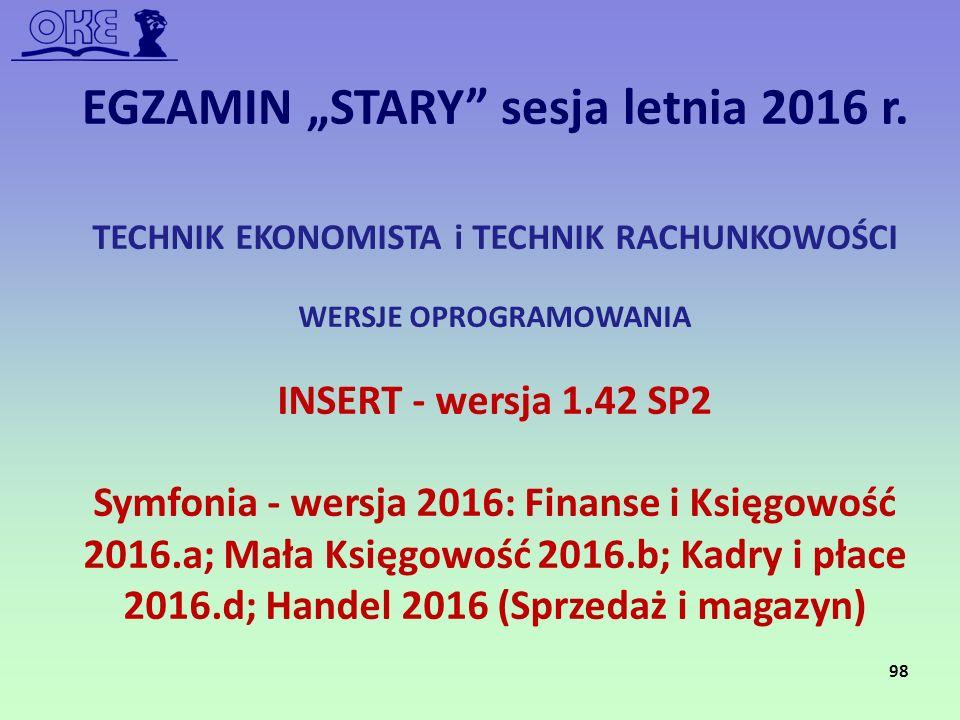 TECHNIK EKONOMISTA i TECHNIK RACHUNKOWOŚCI WERSJE OPROGRAMOWANIA INSERT - wersja 1.42 SP2 Symfonia - wersja 2016: Finanse i Księgowość 2016.a; Mała Ks