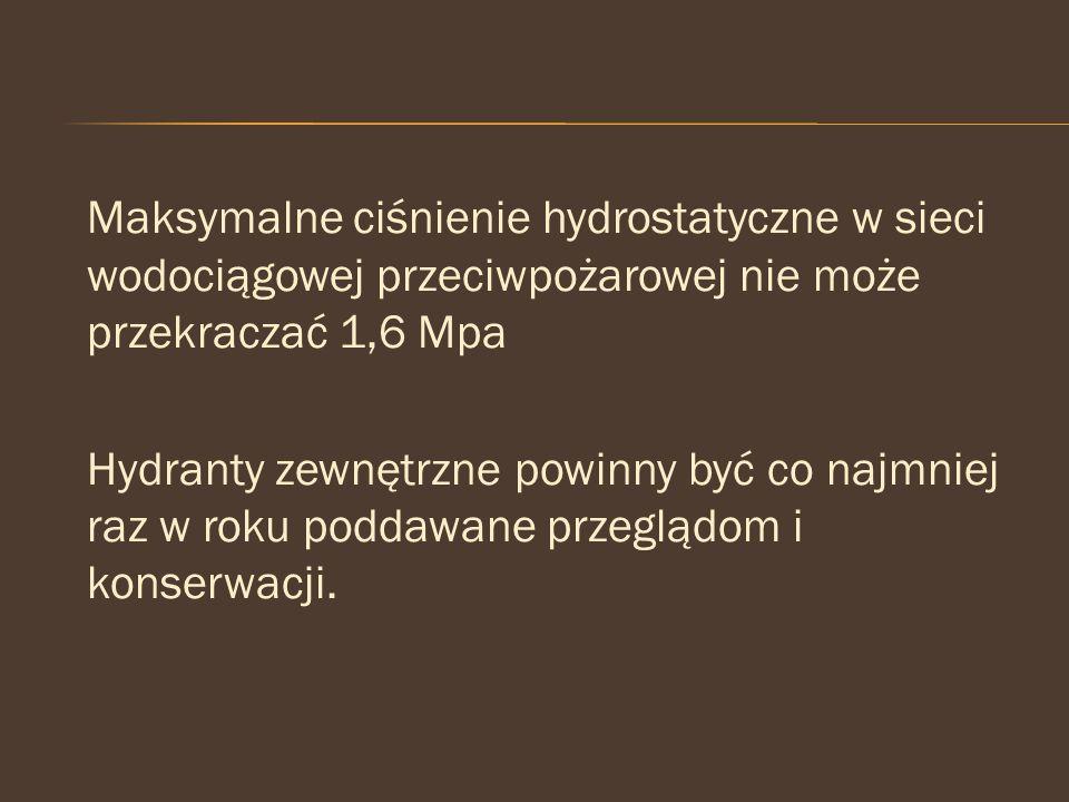 Maksymalne ciśnienie hydrostatyczne w sieci wodociągowej przeciwpożarowej nie może przekraczać 1,6 Mpa Hydranty zewnętrzne powinny być co najmniej raz