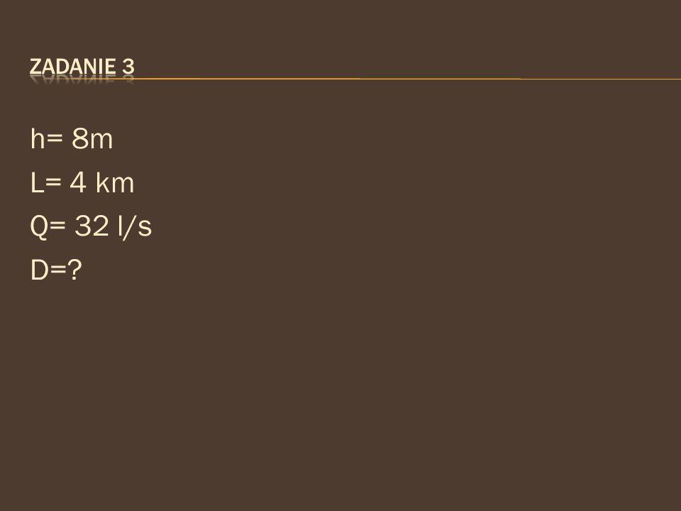 h= 8m L= 4 km Q= 32 l/s D=?
